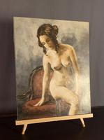Mid Century Signed Oil on Canvas Female Nude (3 of 6)