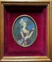 Gorgeous Original Vintage Miniature Portrait Oil Painting in 18th Century Manner (4 of 10)