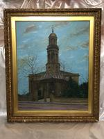 "19th Century English Oil Painting View ""St Marys Church Banbury Oxfordshire"" (21 of 24)"