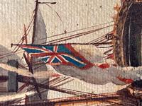 Seascape Oil Painting First Rate Man O War Ships Portsmouth Harbour Signed Brian Coole (23 of 39)