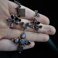 Antique Georgian Flat Cut Garnet 15ct Gold Full Riviere Necklace with Pansy Drops & Cross (9 of 9)