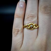 Antique Old Cut Diamond Lovers Knot 18ct 18k Yellow Gold Ring Band (5 of 10)