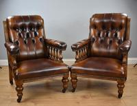 Pair of Victorian Hand Dyed Leather Library Chairs (13 of 13)