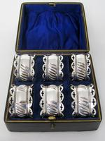 Boxed Set of Six Late Victorian Silver Plated Napkin Rings (2 of 5)