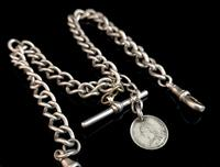 Antique Silver Double Albert Chain, Victorian (12 of 14)