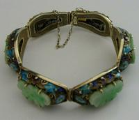 Superb Chinese Solid Silver Gilt Enamel & Jade Bracelet c.1920 Antique (10 of 12)