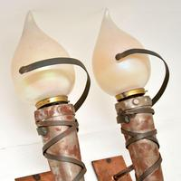 Pair of Art Deco Steel, Copper & Glass Wall Sconce Lamps (3 of 7)