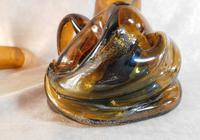 Art Nouveau, Amber Glass, Chamber Lamp (21 of 21)