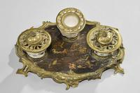 Rare 19th Century Gilt Bronze & Chinese Lacquered Inkwell (6 of 8)