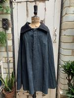 Antique French handmade indigo blue striped linen cape or cloak with black wool collar one size (2 of 10)