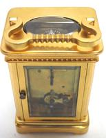 Good Antique French 8-day Carriage Clock Bevelled Case with Embossed Decorated Masked Dial (8 of 12)