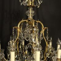 French Gilded Bronze & Crystal 11 Light Birdcage Chandelier (6 of 10)
