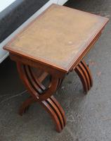 1960s Nest of 3 Mahogany Tables with Brown Leather Tops (6 of 6)