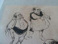 """William Papas """" Inn Keeper  """" Ink Drawing 1970's - 2 of 6 Listed (6 of 7)"""