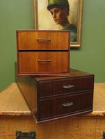 Pair of Vintage Long Wooden Storage Boxes with Lacquered Drawers