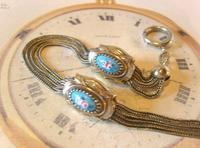 Antique Pocket Watch Chain 1880s Victorian Silver Nickel & Enamel Fancy Albert (6 of 11)