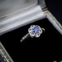 Antique Blue Sapphire & White Sapphire 9ct Gold Cluster Daisy Ring (2 of 10)