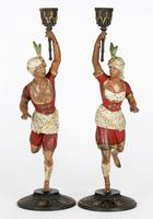 Pair of Continental, Probably French, Cold Painted Metal Figural Candlesticks (20 of 27)
