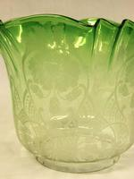Antique Victorian Green Glass Oil Lamp & Original Frilled Green Shade (5 of 13)