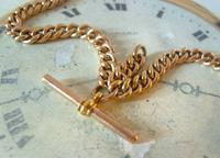 Victorian Pocket Watch Chain 1890s Large 10ct Rose Gold Filled Double Albert & T Bar (7 of 11)