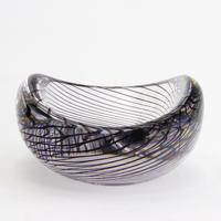 Mid Century Vicke Lindstrand Kosta Glass Bowl with Purple Spiral c.1950 (7 of 9)