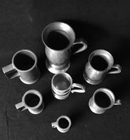 7 Antique Continental Pewter Spirit Measures (2 of 3)