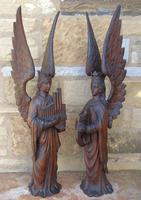 Good Pair of Carved Oak Angels 19th Century (7 of 12)