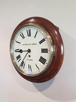 Small Antique 8 Day English Dial Wall Clock (2 of 5)