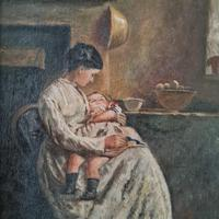 Antique Painting of Mother & Child (2 of 2)