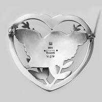 Vintage  Georg Jensen Robin in a Heart Brooch Arno Malinowski 1930s Silver 283 Brooch (3 of 6)