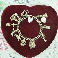 Vintage sterling silver English charm bracelet ~ 12 Charms & Heart padlock~ 50grams (8 of 8)