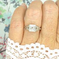 Antique Art Deco Platinum old mine cut diamond solitaire engagement ring