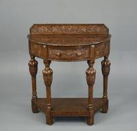 Demi Lune Carved Oak Hall Table (2 of 5)