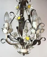 Vintage Rustic Original French Toleware Daisies Ceiling Light Chandelier (9 of 9)