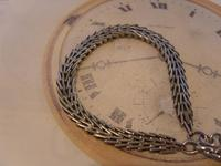 Antique Pocket Watch Chain 1890s Victorian Silver Nickel Herringbone Link Albert (5 of 11)