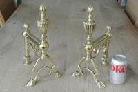 Quality Pair of Large Victorian Brass Fire Dogs Fire Iron Rest Andirons c.1880 (2 of 9)