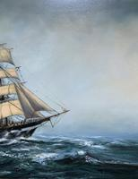 Large Beautiful Mid-Century Full-Masted Ship in Rough Seas Seascape Oil Painting (10 of 12)