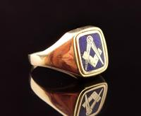 Vintage 9ct Gold Masonic Swivel Ring, Signet, Blue Enamel (10 of 13)