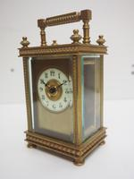 Antique French 8-day Carriage Clock Unusual Masked Dial Case with Enamel Dial (3 of 10)