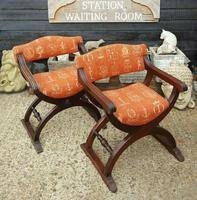 Quality Near Pair of Mahogany Antique x frame Chairs (5 of 5)