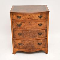 Antique Burr Walnut Bow Front Chest of Drawers (3 of 9)