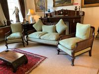 19th Century Antique Mahogany Upholstered 3 Piece Bergere Sofa Suite Armchairs Settee (2 of 15)