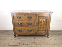 Antique Oak Arts & Crafts Marble Top Cupboard