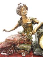 Wonderful French Figural Mantel Clock Lady Reclining 8 Day Mantle Clock with side Urns (3 of 12)