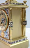 French Napoleon III Brass & Champleve Mantel Clock by Japy Freres (4 of 10)