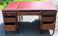 1920s Mahogany Partners Desk with Red Leather on Top (4 of 6)