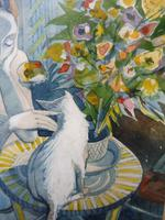 Watercolour Nude with Cat Listed Artist James Gorman (5 of 14)