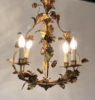 Antique French Birdcage Style Gilt Toleware Ceiling Light Chandelier With Roses (9 of 10)