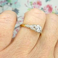 Art Deco 18ct Platinum Old Cut Diamond Solitaire Engagement Ring 0.35ct c.1920 (5 of 11)