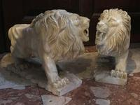 Pair Fine Early 20th Century Art Deco Italian Marble Male & Female Rampant Lions Sculptures (8 of 11)